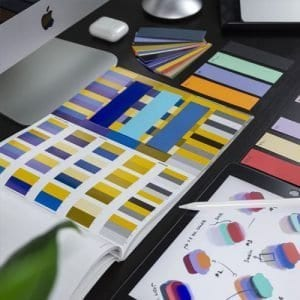 Branding colour swatches and books